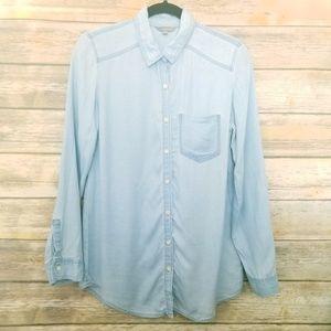 Rubbish Chambray Button Up Long Sleeve Shirt S